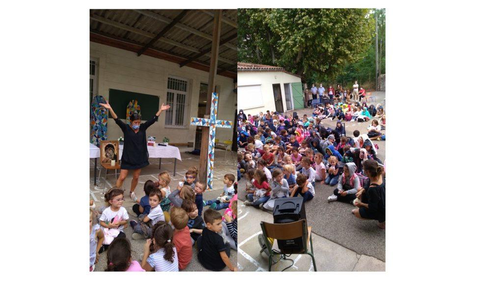 Ecole sainte marie Fuveau les enfants chantent et dansent pour célébrer la rentrée scolaire 2020 2021 sourires sur les visages parents présents chemin de croix présenté offert pour Eglise Bosnie