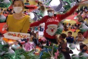 Ecole Sainte Marie Fuveau ensemble repas noel 2020 entre sapin boules et étoiles sourires d'enfants des enseignants danse d'enfants
