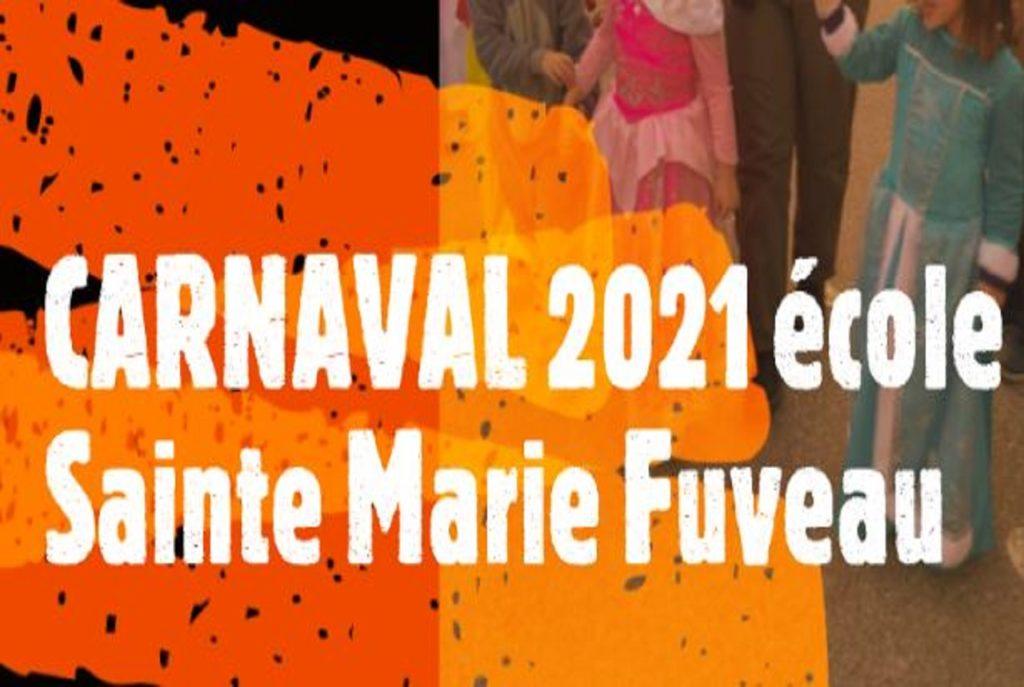 affiche article carnaval 2021 école Sainte Marie Fuveau fond d'image enfants déguisés avec écriture blanche du titre sur fond orange