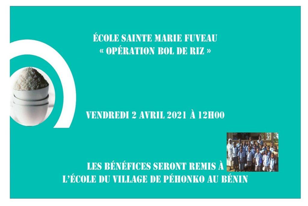 affiche opération bol de riz école sainte marie Fuvea 2021 avec image enfant de l'école de Péhonko au Bénin sur fond vert écriture blanche