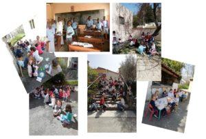 Ecole sainte marie fuveau des enfants dans la cour de l'école partagent leur bol de riz assis au sol