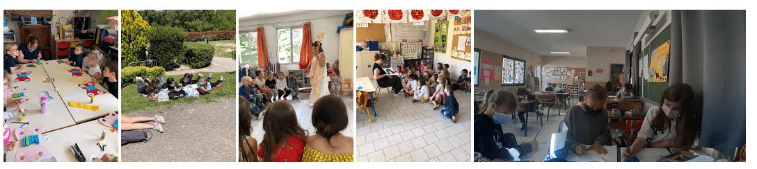 Ecole Sainte Marie Fuveau journée Rallye Lecture panorama de photos des divers moments enfants qui confectionnent des papillons, enfants qui lisent dans les espaces verts, enfants qui illustrent en classe des livres