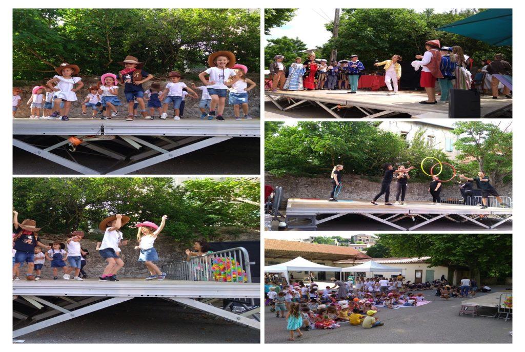 Ecole Sainte Marie Fuveau fête de l'école 2021 photo montage avec des enfants de différentes classe qui dansent