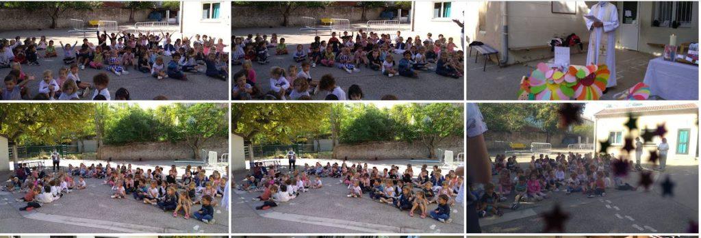 Ecole Sainte Marie Fuveau, enfants chants danses avec le Père Régis