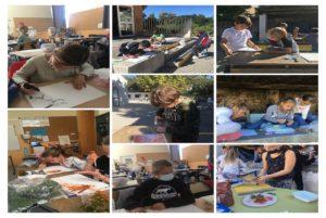 Ecoles Sainte Marie Fuveau production d'art pariétal les enfants dessinent